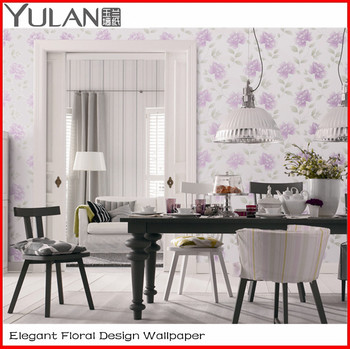 Elegant Floral Design Flocking European Style Wallpaper for House