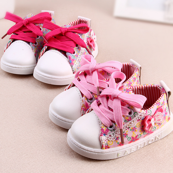 TSW7205 Beautiful floral lace baby girls canvas shoes