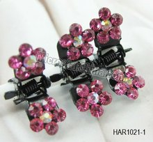 10 Colors Mini Hair Clow Clamp Grips Rhinestone Flower Crystal