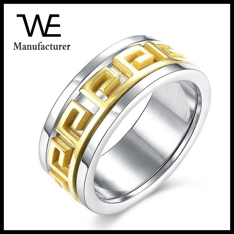 New Classic Design Geometric Type Gold Colour Couple Greek Pattern Ring
