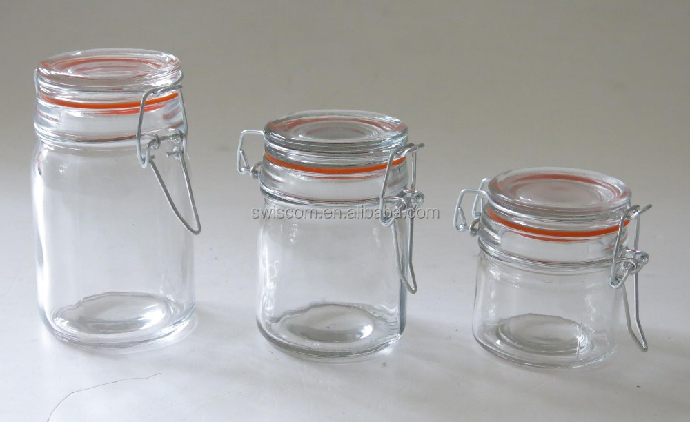 glass jar with glass lid and metal clip SP016-A1,G1,H1
