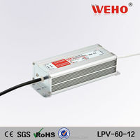 Factory outlet outdoor IP67 waterproof single output 60w 12v led driver