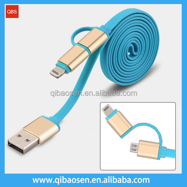 Universal 2 in 1 Aluminum Micro USB to 8pin Data Sync USB Cable for iPhone 6 6s 5 5s ipad Charger Samsung S7 S6 Mi4 Htc Charger