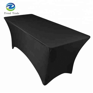 Exhibition Polyester Spandex Fitted Stretch Table Cover 6ft Rectangle