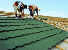 Building material colorful stone chip coated metal roof tiles steel roofing