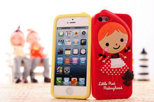 Hot 3D Silicone Cartoon Little Red Riding Hood Case Cover For iphone5 5G