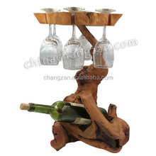 European stylish Articles Natural Hand-Carved Red Wine glass Rack Wood