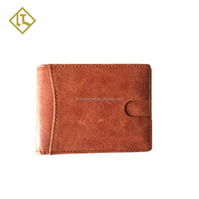 Custom New Style Mens Genuine Leather Brown ID Credit Card Holder Wallet Silver Money Clip Slim Wallets