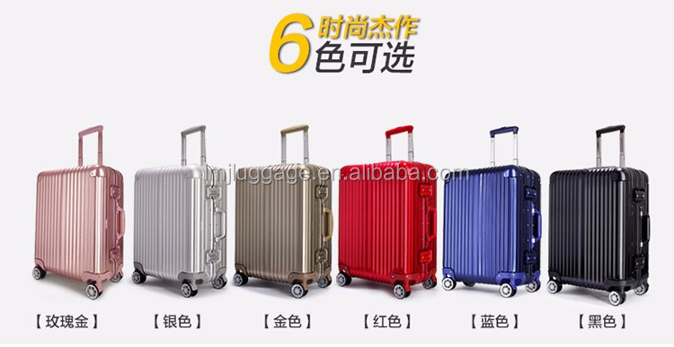 Plane metal frame boarding business luggage with 360 degree wheels