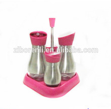 4Pcs Mat Shinning Stainless Steel Coated Glass Salt Pepper Shaker and Oil Vinegar Bottle with Plastic Stand