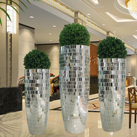 large floor standing silver mirrored mosaic decorative vase, polystone multifaceted tall wedding vase