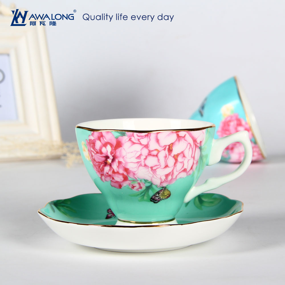 Tea Cup Logo Printing / Gold Plated Tea Cup Set / Green Tea Cup Charm from China