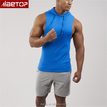 Custom breathable drop armhole polyester stringer gym fitness pullover sleeveless tank top hoodie mens