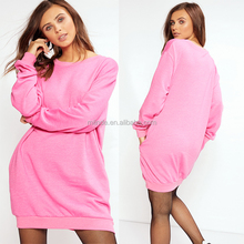 Best Seller Long Sleeve Sweat Dress No Hooded Pink Cotton Polyester Knitted Jersey Jumper Dress Designs For Ladies