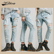 2016 Top design jeans fabric price ladies wholesale market stock lot denim long pants for women