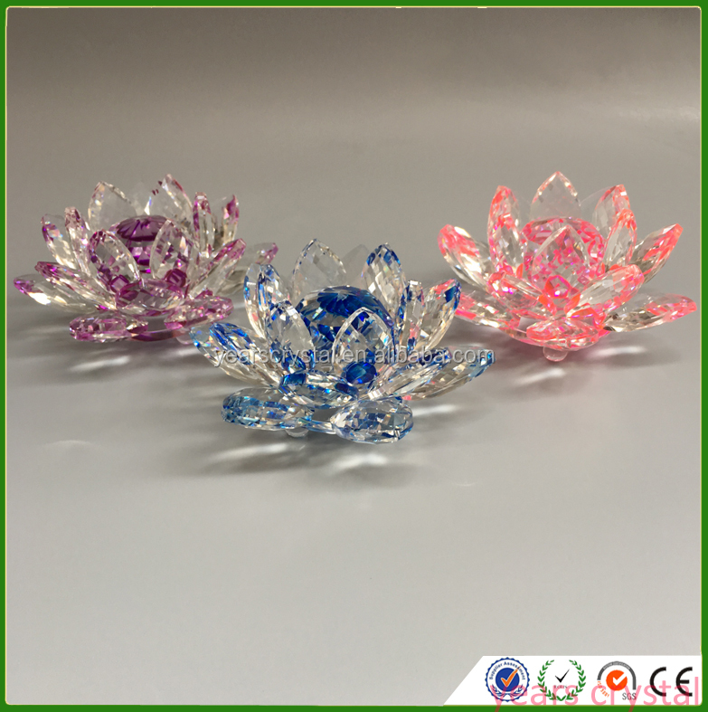 Hot Sale Cheapest Crystal Lotus crafts Glass Lotus FLower with different color(G-382)