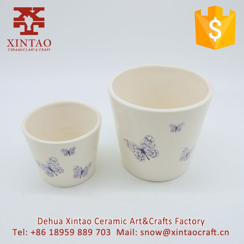 (Set of 2) Hot selling Vintage-Style White Ceramic Flower Pot