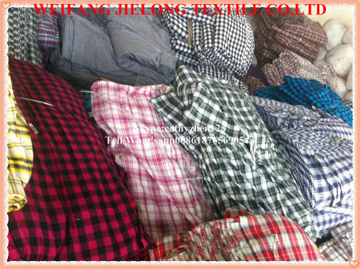yarn dyed check fabric stock