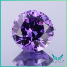 Round shape dark purple cubic zirconia gemstones with AAA grade