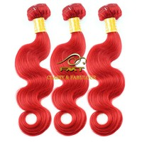 European 100% Unprocessed Virgin Remy color Hair Weaves body wave Grade 9A red brazilian hair weave