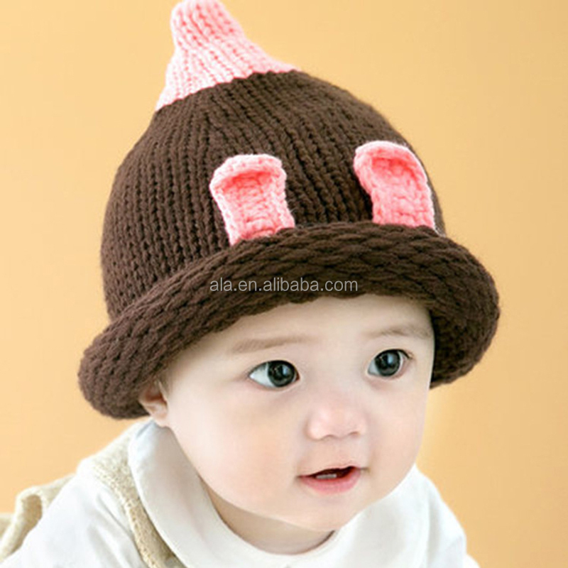 Winter Baby Kids Boy Girls Solid Caps cheap Warm Wool Knitted Cute caps