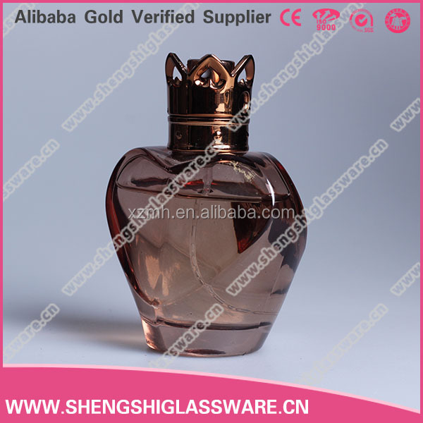 Heart shaped refillable empty perfume glass spray bottle