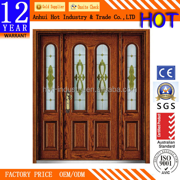 Popular Wood Iron Safety Door Designs Steel Door Gate Single and Half Safety Front Door