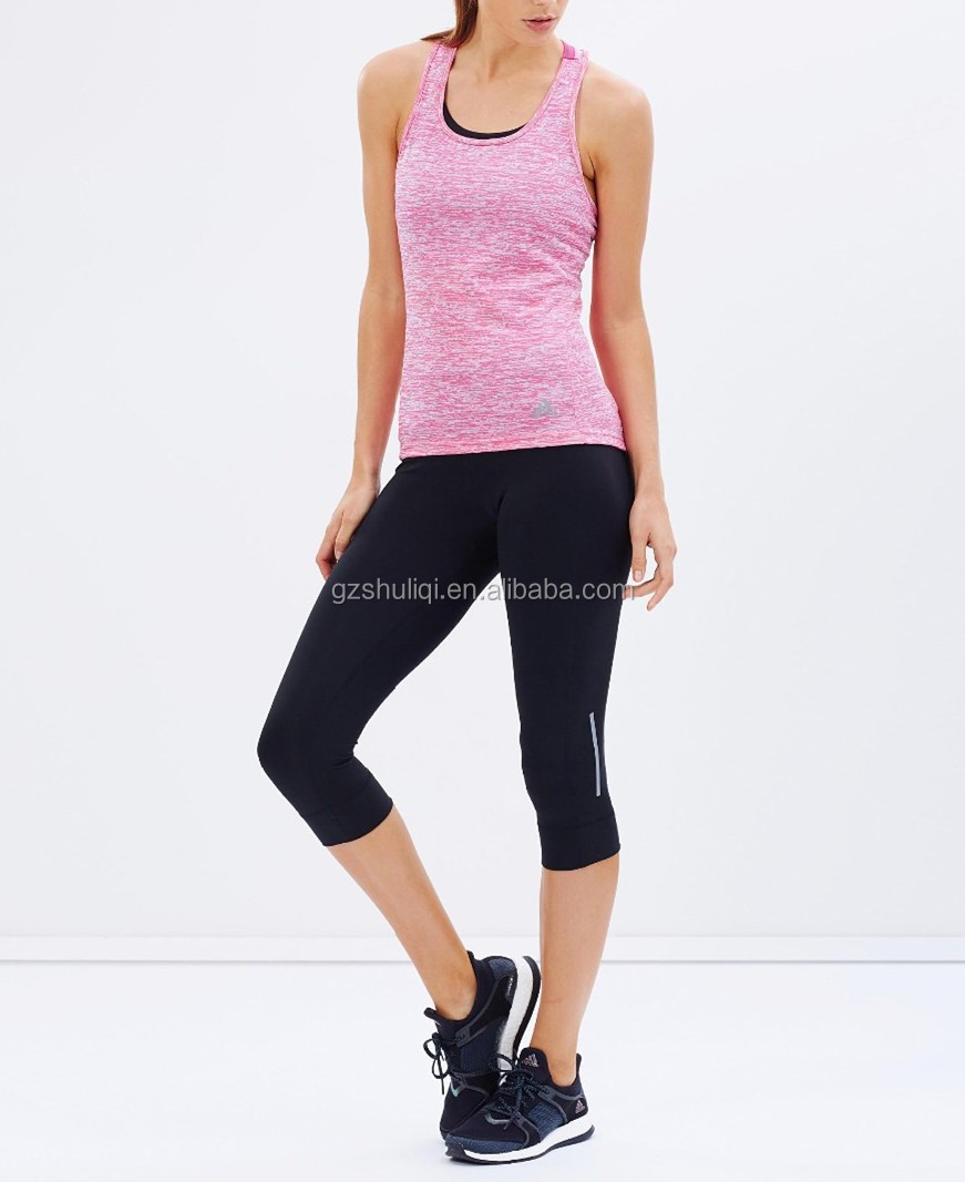 2016 OEM New Design Young Stripe Sleeveless Women Sport Tank Top