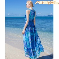 Washable women summer fashion chiffon sleeveless fancy dress beach wear