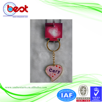 heart shape key chain with the name of Cary