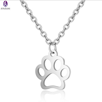 Stainless steel silver hollow bear paw pendant with chain
