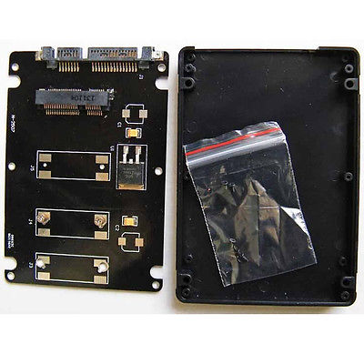 "Mini PCIe mSATA SSD to 2.5"" SATA III 3 Adapter Card with 7 mm thickness Case BLK"