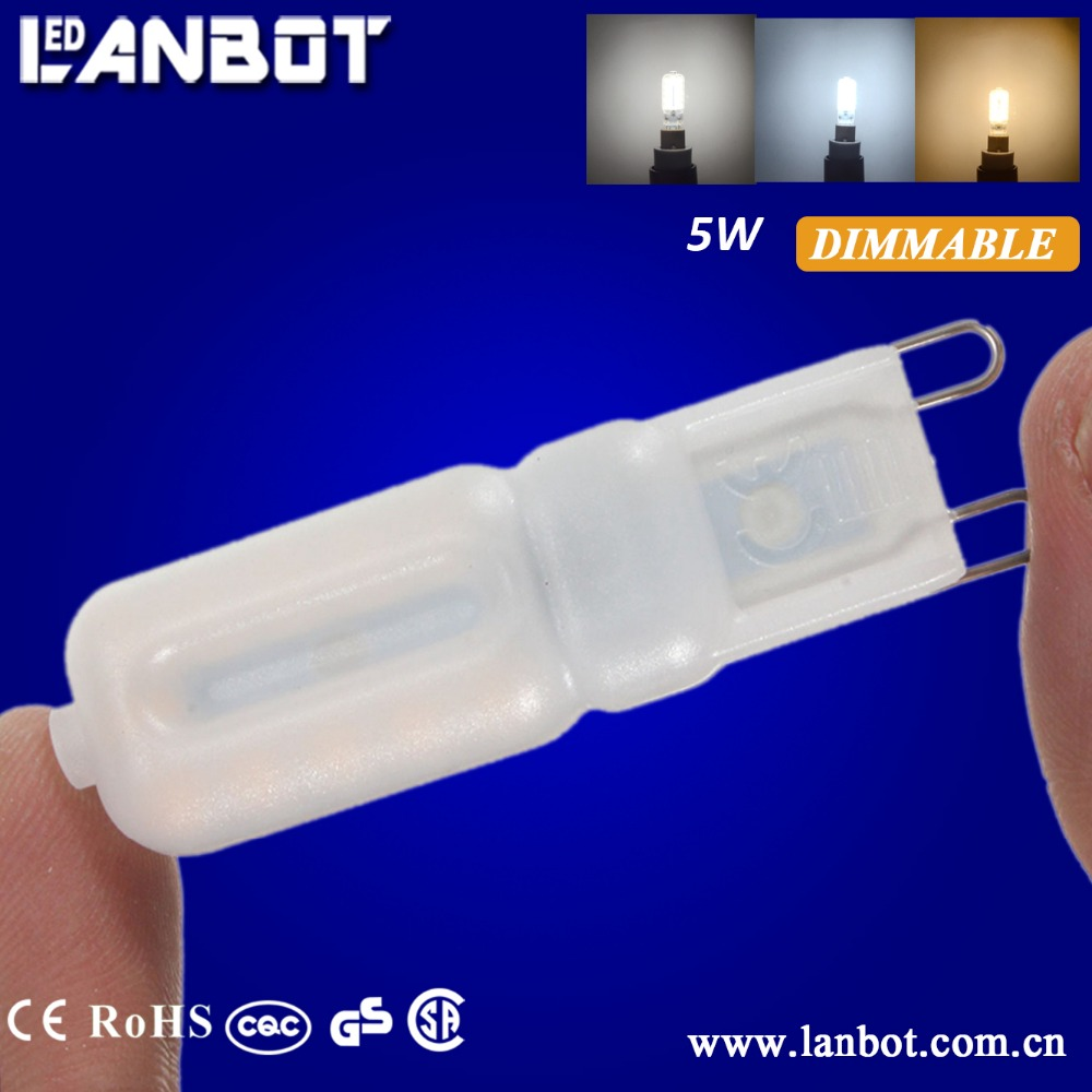 AC230V 5W Replace 50W halogen bulb 2700k-7000K CE/RoHS Milky And Clear Cover Plastic Capsule G9 LED Corn Light Bulbs