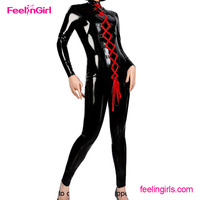 Wholesale sexy jumpsuit designed with lacing up black body latex catsuit