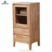 Living Room Vitrine Showcase TV Stand Wood Side Cabinet