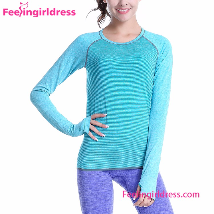 Fitness Gym Fitness Long Sleeve Workout Blue Sports Suit