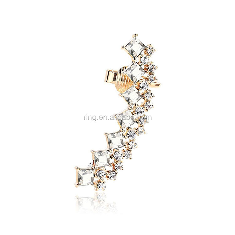 2015 Fashion Crystal Rhinestone Long Snowflake Flower Dangle Earrings Ear Stud DSE-0045