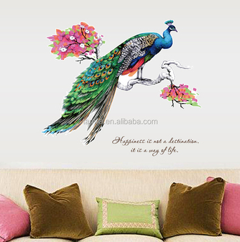 Modern wall sticker Peacock decorative eco-friendly PVC peacock figure animal DIY removable wall Sticker