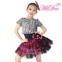 Zebra Print Crop Top Ballroom Dance Dresses Latin Dance Dress For Girls