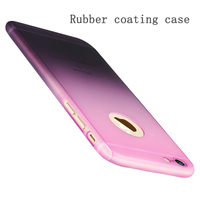 Housing Rubber Case for iPhone 5 5s se 6s 6 Plus Gradient Fade Color Hybrid Hard PC 360 Degrees Cover With Free Tempered Glass