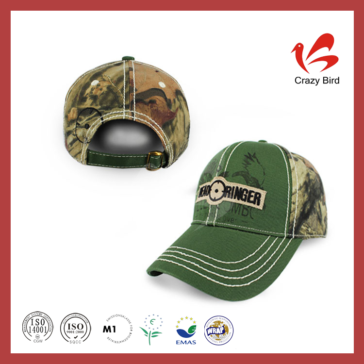 New Design Green Embroidery Badge Logo 6 Panels Camouflage Fabric Military Baseball Cap with Eagle