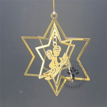 metal craft 3d metal Christmas ornament with angel and stars