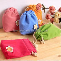 Cute Flannel Little Flower Small DrawString Card Key Coin Gift Bag