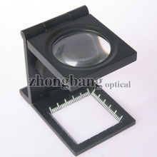 28mm 8x Folding illuminated linen tester magnifier with scale