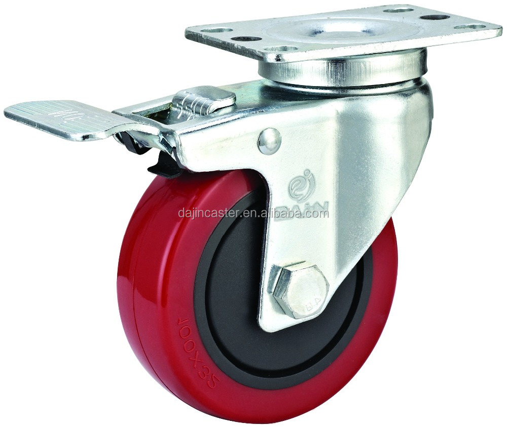 4 Inch Rubber Swivel Brake Caster <strong>Wheels</strong>