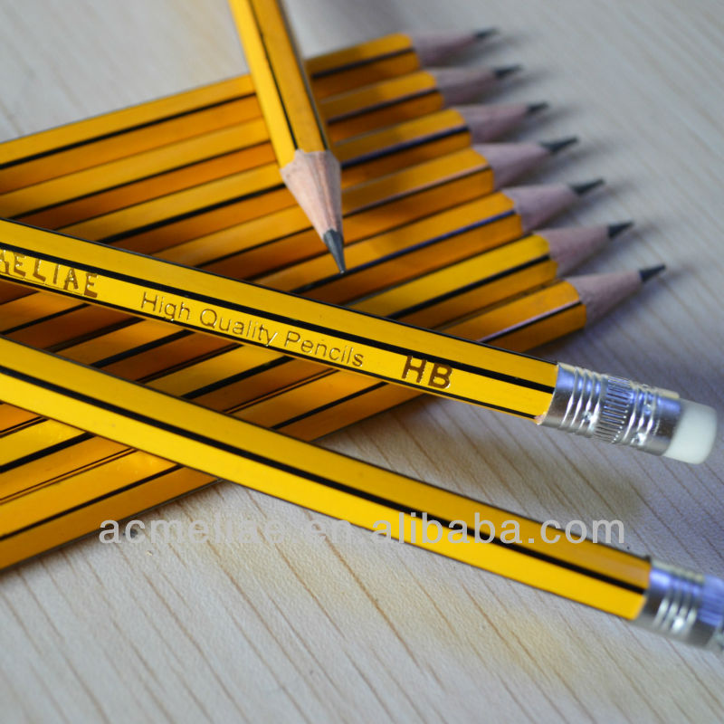 Standard size hexagonal shape black and yellow striped graphite lead pencil sharpened with eraser