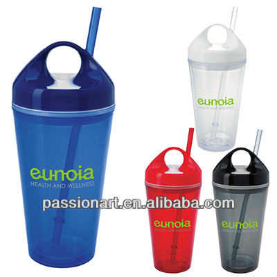 Customized printed plastic tumbler acrylic double wall drinking cup