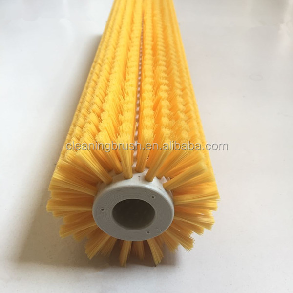 Cylinder rotary nylon roller cleaning brush in cleaning machine