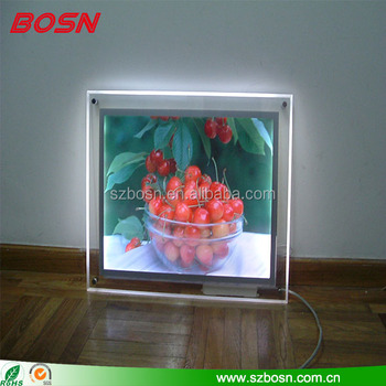 High quality clear acrylic electronic LED light photo & picture frame box