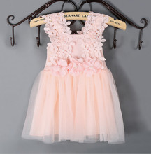 TF-00160710002 Girls Flower Dress and Pink /Mint / White/ Tulle 6 color Dress Fashion Design Small Girls Dress